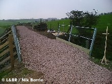 Newly laid ballast on bridge 67