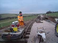 The new platform road at Killington Lane. Track laying nears completion.