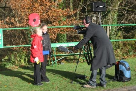 Axe - Seth Conway interviewing Lynton schoolchildren for ITV Westcountry