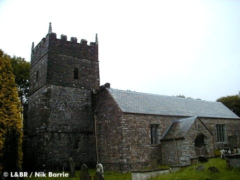 St Petrock's Church above the trackbed at Churchtown